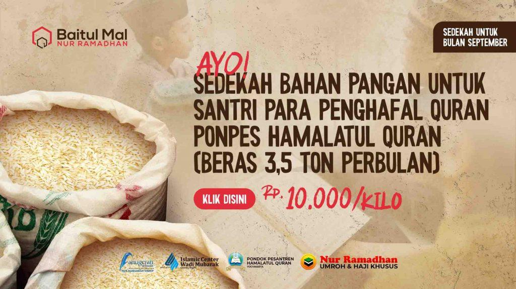 Donasi Beras Untuk Santri Hamalatul Quran, Baitul Mal Nur Ramadhan