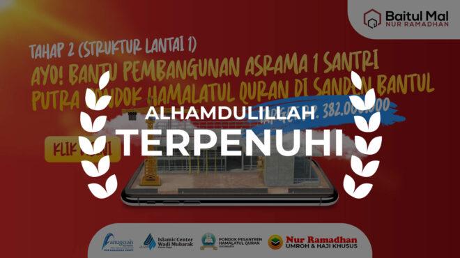BANTU PEMBANGUNAN ASRAMA SANTRI TAHAP 2, BAITUL MAL NUR RAMADHAN